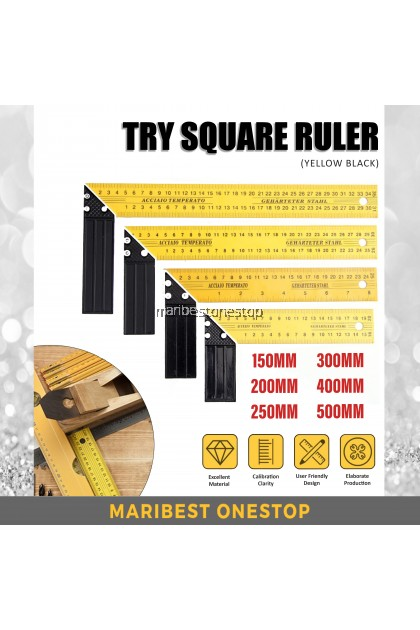 PROFIELD TRY SQUARE SCALE RULER TOOL L RULER YELLOW BLACK 150/200/250/300/400/500MM