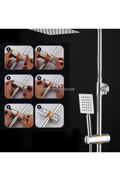 ADJUSTABLE HAND SHOWER HOLDER CHROME For Slide Bar 360 Degree Rotation Sprayer Shower Arm Holder Bracket