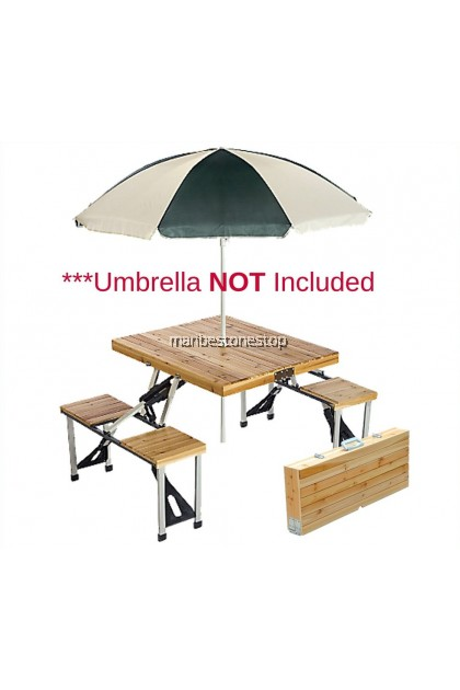 Wooden Foldable Picnic Table Meja Lipat With 4 Chairs Folding Adjustable Outdoor Camping