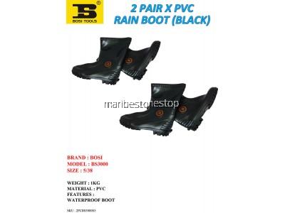 2 PAIR X PVC RAIN BOOT (BLACK) SIZE 5/38