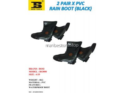 2 PAIR X PVC RAIN BOOT (BLACK) SIZE 6/39