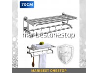 1 UNIT x 70CM STAINLESS STEEL TOWEL RACK WITH STAINLESS STEEL FIXING SCREW