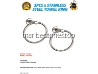 2PCS X STAINLESS STEEL TOWEL RING WITH STAINLESS STEEL FIXING SCREW