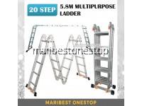 20 STEP MULTIPURPOSE ALUMINIUM LADDER 5.8M