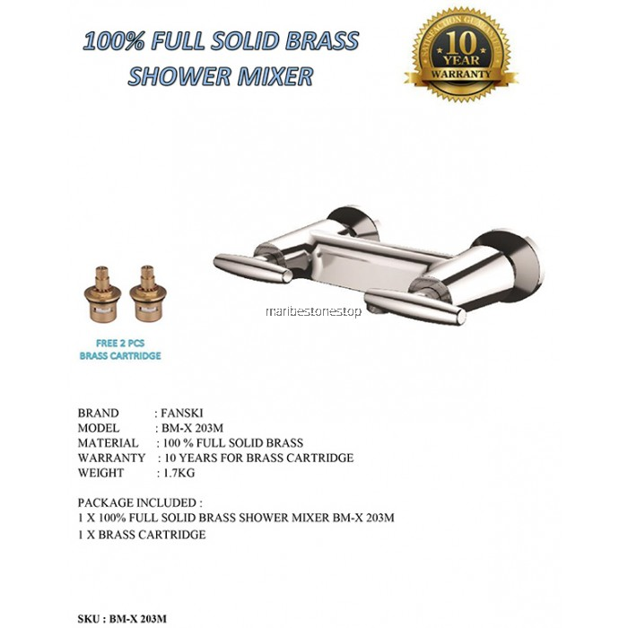 100% FULL SOLID BRASS SHOWER MIXER BM-X 203M FOC 2PCS BRASS CARTRIDGE