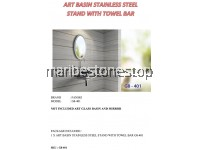 ART BASIN STAINLESS STEEL STAND WITH TOWEL BAR G8-401