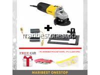 COMBO STGT5100 STANLEY ANGLE GRINDER WITH CUTTING STAND, CLEAR SPEC & MULTIPURPOSE POCKET KNIFE