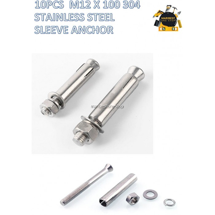 10 PCS X M12 X 100MM 304 STAINLESS STEEL SLEEVE ANCHOR