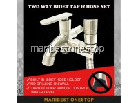 304 STAINLESS STEEL TWO WAY FAUCET TAP WITH BIDET HOSE BATHROOM TOILET SET