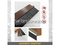 1 METER ALUMINIUM BRUSH BOTTOM DOOR SEAL - BROWN