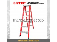 6 Step Fibre Glass Double Sided Ladder 1.8M