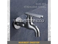WALL MOUNTED STAINLESS STEEL KITCHEN BATHROOM BIB TAP
