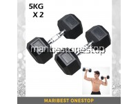 10kg Premium Rubber Coated Hexagon Dumbbell with Contoured Chrome Handle (5KGX2)