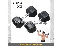 15kg Premium Rubber Coated Hexagon Dumbbell with Contoured Chrome Handle (7.5KGX2)