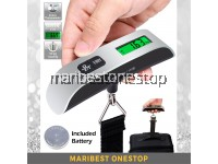 Digital Electronic LCD Luggage Scale Pocket Weighing Scales Travel Hook Hanging Thermometer 50kg
