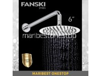 "6"" Stainless Steel Shower Head Rainfall Shower Head Ultra Thin Large ROUND SHOWER HEAD AND ARM"