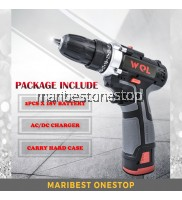 WQL 18V Double Speed Electric Cordless Drill Screwdriver with 2pcs Lithium Battery Tool Set