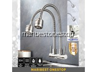 304 Stainless Steel Wall Mounted Double Flexible Kitchen Faucet 2 Mode Water Faucet