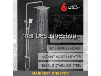 "SUS304 Stainless Steel 2 in 1 Ultrathin 8"" Square Rain Shower Hand Shower Set for Water Heater"