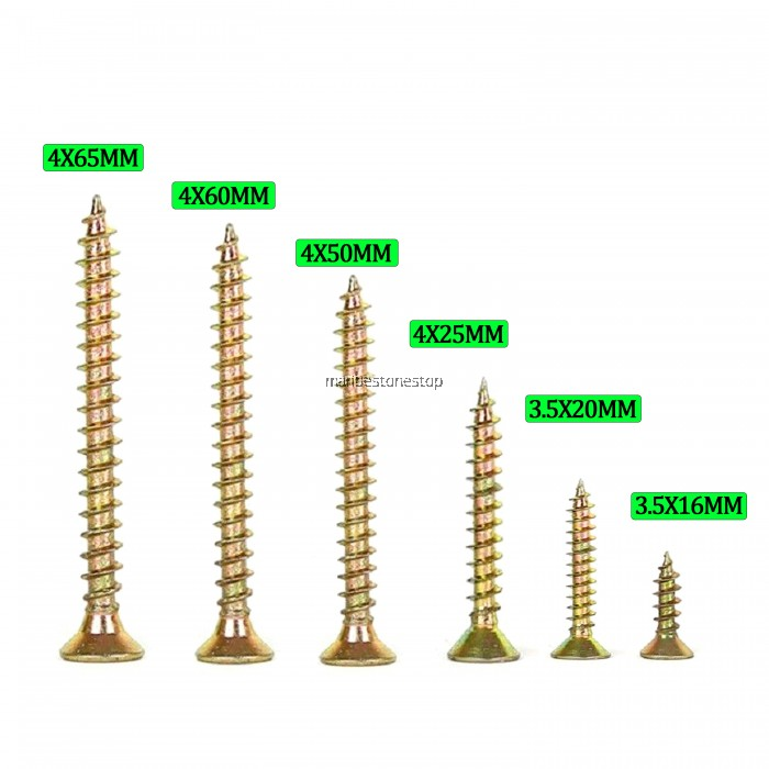 1000pcs Chipboard Screw Yellow Zinc In 6 Sizes Cabinetry