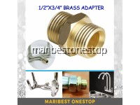 "1/2"" X 3/4"" Brass Adapter For Twin Flexible Wall Mounted Kitchen Tap"