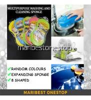 Multipurpose Expanding Sponge Cleaning and Washing Tool Multifunction Sponge 8 Shaped Random Colours