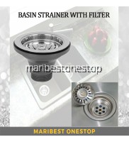 """3 1/2"""" Stainless Steel Sink Strainer Kitchen Basket Waste Coupling With Filter Tray"""