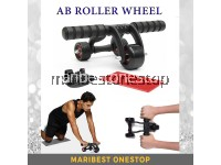 3 Wheel Ab Roller with Brake Pad Knee Mat Abs Workout Home Gym Fitness