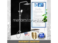 "SUS304 Stainless Steel 3 in 1 Ultrathin 8"" Square Rain Shower Hand Shower Set for Water Heater"