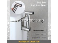 304 STAINLESS STEEL HAND BIDET SPRAYER HOSE SET & HOSE HOOK HOLDER FOR TOILET BATHROOM