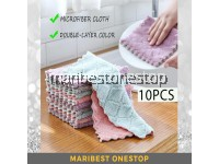 10Pcs Double Layer Kitchen Towel Kitchen Cloth Coral Cloth Thickened Double Layer Dishcloth