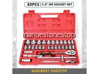 "SATAGOOD G-10013 32PCS ½"" Dr 6/12 Point Socket Ratchet Extension Bar Set Repair Tool Kit"