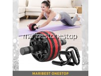COMBO RED AB ROLLER 9219 AND PUSH UP STAND 9224 FOR ABS TRAINING ROLLER WHEEL
