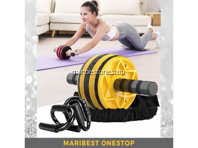 COMBO YELLOW AB ROLLER WITH ELASTIC STRING 9219 AND PUSH UP STAND 9224 FOR ABS TRAINING ROLLER WHEEL