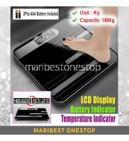 Digital LCD Display Tempered Glass Electronic Weighing Scale with Design 26cm x 26cm