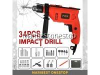 34PCS FOX GSB-550RE 710W 2 Mode Electric Impact Hammer Drill with Accessories Set