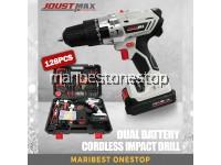 128PCS Joustmax JST21VS/B 21V 10mm Cordless Impact Hammer Drill Screwdriving Drilling Dual Battery Tool Set