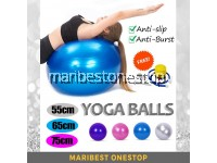 Anti-Slip Burst Resistance Gym Fitness Exercise Yoga Ball Random Color with FREE Accessories