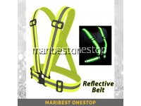 Adjustable Reflective Safety Belt Vest Fluorescent Green Night Visibility for Outdoor Sports