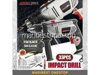 Joustmax 33PCS JST21302KIT-C 750W 13mm Impact Hammer Drill 2 Mode with Accessories