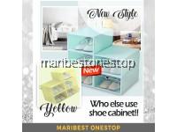 NEW 30cm Stackable Shoes Box Shoe Organizer Foldable Shoe Rack Transparent Storage Box Shoe Cabinet Almari Kasut