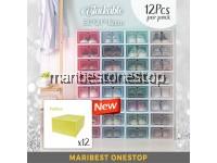 NEW [12Pcs Per Set] 30cm Stackable Shoes Box Shoe Organizer Foldable Shoe Rack Transparent Storage Box