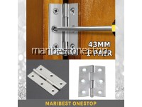 1 PAIR 43mm Stainless Steel Door Hinges Closet Drawer Jewelry Box Cabinet Butt Hinges