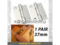1 PAIR 37mm Stainless Steel Door Hinges Closet Drawer Jewelry Box Cabinet Butt Hinges