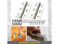 1 PAIR 58mm Stainless Steel Door Hinges Closet Drawer Jewelry Box Cabinet Butt Hinges with Screws