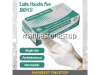 100Pcs / Box Farma Glove Latex Powdered Free Examination Gloves – S M L Size
