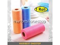 1 ROLL Multipurpose Reusable Washable Disposable Kitchen Rag Roll Kitchen Cloth Wipes Dishcloth RANDOM COLOUR