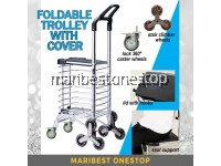 Foldable 8 Wheel Stair Climber with Lid Cover Aluminium Folding Grocery Shopping Trolley Cart Sit Trolley