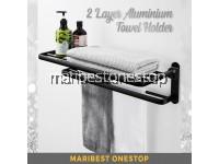 2 Layer 59cm Foldable Aluminium Towel Holder Wall Mounted Towel Rack Clothes Rail Bathroom Shelves (BLK-999960)