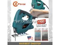 X-FORCE 380W Electric Jigsaw 45 Degree Adjustable Wood and Metal Cutting Machine Jig Saw with Free 2 Set Jigsaw Blades